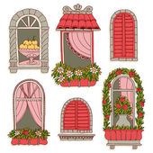 Illustrations with  vintage windows — Stock Vector