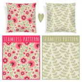 Set with pillows patterns. — Stock Vector