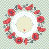 Wreath of poppies card — Stock Vector