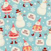 Pattern with Santa and snowman. — Stock Vector