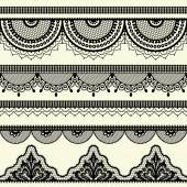 Set of vintage lace borders. — Stock Vector