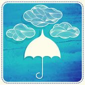 Umbrella and delicate clouds. — Stock Vector