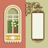 Window and sign. — Stock Vector