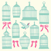Set with vintage bird cages. — Vecteur
