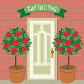 Sweet home house entrance. — Stock Vector