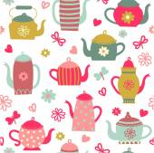 """Pattern of """"tea and coffee."""" — Stock Vector"""