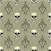 Naadloze patroon met schedels. — Stockvector