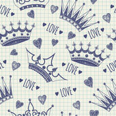 Seamless pattern with crowns — Stock Vector