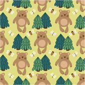 Teddy bears and bees. — 图库矢量图片
