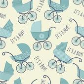 Patrón sin fisuras con cochecitos de bebé. — Vector de stock