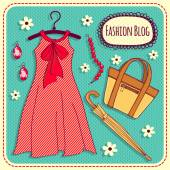 Dress and accessories — Stock Vector