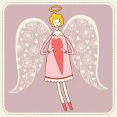 Angel with heart  illustration — Vector de stock