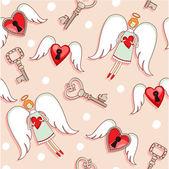 Keys and hearts  pattern — Stock vektor