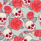 Pattern with skulls and roses. — Stock Vector