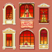 Merry Christma vintage windows. — Stock Vector