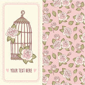 Birdcage and roses pattern — Vecteur