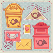 Illustrations with vintage mailboxes. — Stock Vector