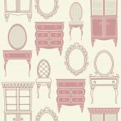 Set with antique furniture. — Stock Vector