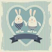 Postcard with bunnies — Stock Vector