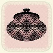 Illustration with vintage clutch. — Stock Vector