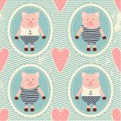 Pattern with hearts and pigs. — Vector de stock