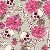 Pattern with skulls and dahlia — Stock Vector