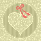 Cartão com coração de laço. — Vetor de Stock