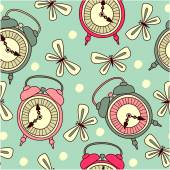 Seamless pattern with alarms — Stok Vektör