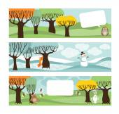 Postcards with trees and animals. — 图库矢量图片
