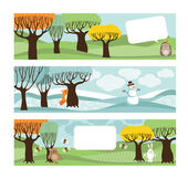 Postcards with trees and animals. — Stockvector