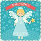 Joyeux Noël avec ange. — Vecteur