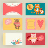 Greeting cards with animals — Stock Vector