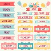 Banners with the days of the week. — Stock Vector