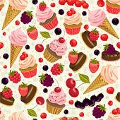 Десерты и образец ягод — Cтоковый вектор