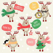 Christmas illustrations with deers. — Stock Vector