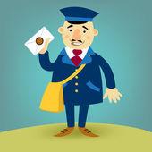 Illustration with  happy postman — Stock Vector