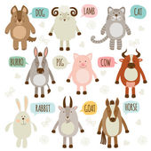 Set of illustrations with animals. — Stock Vector