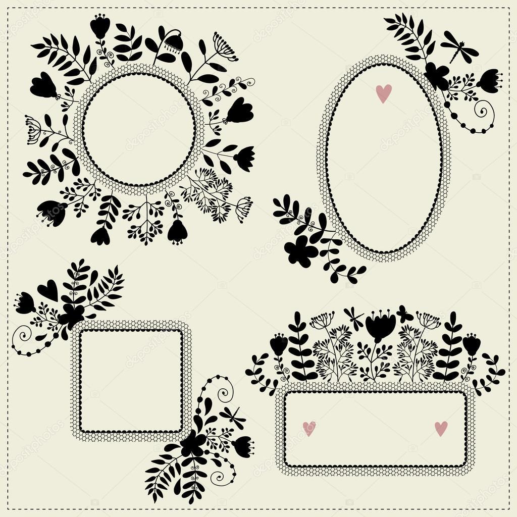 Cuadros vintage con flores vector de stock xenia ok - Marcos de cuadros vintage ...