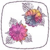 Watercolor Dahlia flowers — Vector de stock