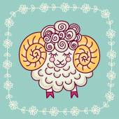 Greeting card with lamb — Stock Vector