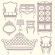 Set with vintage furniture. — Stock Vector #72055715