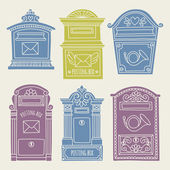 Set of vintage mailboxes — Stock Vector