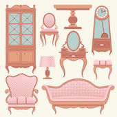 Set with vintage furniture. — Stock Vector