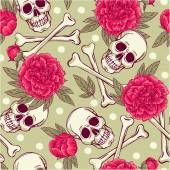Pattern with skull and peonies — Stock Vector