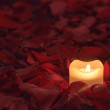 Candle on the rose petals background — Stock Photo #62384609