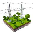 3D Electric powerlines — Stock Photo #62364257