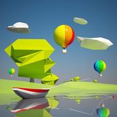 Landscape with river boat and balloons — Stock Photo