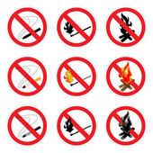 No fire sign set — Stock Vector