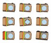 Rastafarian camera icon set — Vetor de Stock