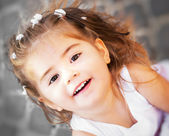 Portrait of a beautiful little girl close-up — Stok fotoğraf